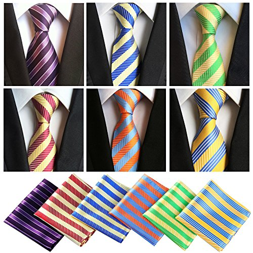 Lot 6 Pcs Mens Ties and 6 Free Matching Pocket Squares, Men's Classic Tie Necktie Woven Jacquard Neck Ties Gift box packing (6+6 style 08)