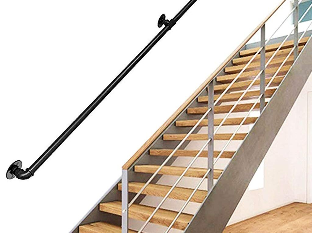 Complete Accessories Iron Industrial Pipe Stair Railing Indoor And | Industrial Pipe Stair Railing | Threaded Pipe | Rail | Banister | Galvanized Pipe | Wall