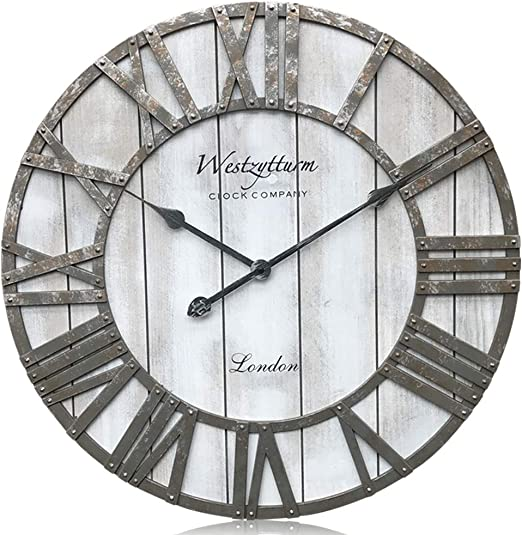 Amazon Com Westzytturm Extra Large Wall Clock Wood Rustic Farmhouse Vintage Oversized 3d Roman Numeral Decorative Wall Clocks For Living Room Kitchen Office Mantel Grey 24 Inch Home Kitchen