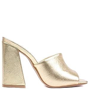 Sandalia Donna Bico Quadrado Salto Alto Bloco Curvado Dourado