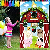 Farm Animal Toss Games with 3 Nylon Bean Bag, Fun Carnival Toss Game, Farm Animals Theme Party Decorations and Supplies