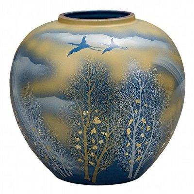 Jpanese traditional ceramic Kutani ware. Ikebana flower vase. Gold cloud kodachi. With wooden box. ktn-K5-1322