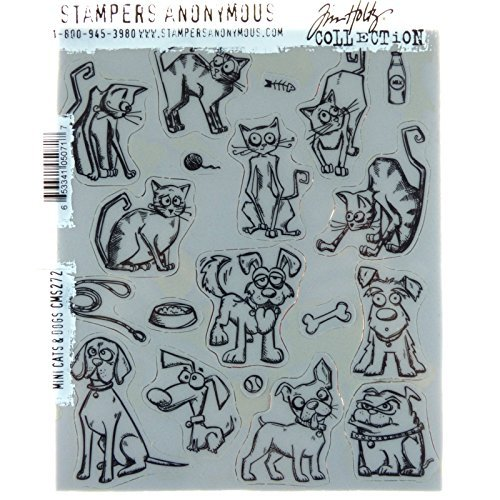 Stampers Anonymous Tim Holtz Cling Mount Stamps: Mini Cats and Dogs CMS272