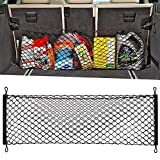 9 MOON Adjustable Elastic Heavy Duty Cargo Net - Universal Stretchable Truck Net with Hooks | Organizer, Storage, Mesh, Nylon, Bungee | for Car, SUV, Truck, Black