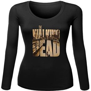 Walking Dead Poster Logo for Women Printed Long Sleeve Cotton T-shirt