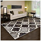 Superior Modern Viking Collection Area Rug, 8mm Pile Height with Jute Backing, Chic Textured Geometric Trellis Pattern, Anti-Static, Water-Repellent Rugs - Chocolate, 5' x 8' Rug