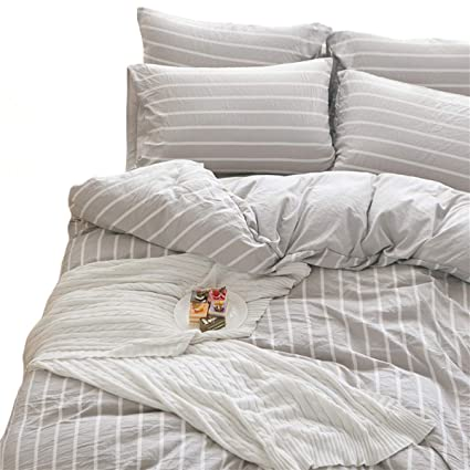 Doldoa Washed Cotton Duvet Cover Queen 90x90 Inchgrey Striped Comforter Cover Lightweight