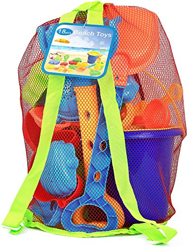 Click N' Play 18 Piece Beach sand Toy Set, Bucket, Shovels, Rakes, Sand Wheel, Watering Can, Molds,