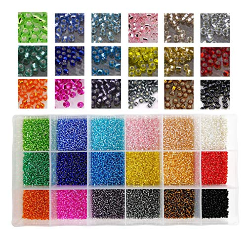 18000pcs in Box 18 Multicolor Assortment 12/0 Beading Glass Seed Beads Transparent Silver Lined Loose Spacer Mini Crystal Seed Beads,2mm Round, Hole 0.8mm (1000pcs/Color, 18 Colors)