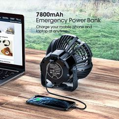 Camping-Fan-with-LED-Lantern-7800mAh-Rechargeable-Portable-Tent-Fan-with-Remote-Control-Power-Bank-180Head-Rotation-Perfect-Quiet-Battery-Operated-USB-Fan-for-Picnic-Barbecue-Fishing-Black