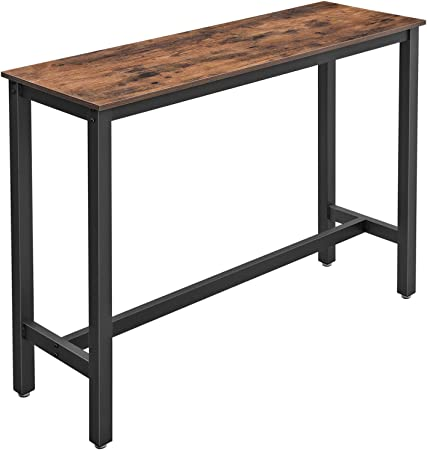 Vasagle Bar Table Narrow Rectangular Bar Table Kitchen Table Pub Dining High Table Sturdy Metal Frame 120 X 40 X 100 Cm Easy Assembly Industrial Design Rustic Brown And Black Lbt12x Amazon Co Uk