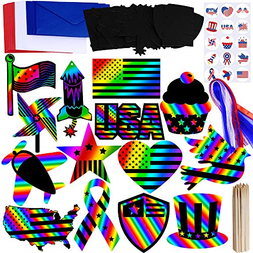 Supla 28 Set Patriotic Party Decoration 4th of July Patriotic Magic Scratch Ornaments with Patriotic Sticker Ribbon Scratching Tools Envelopes in Red White Blue for Memorial Day Independence Day