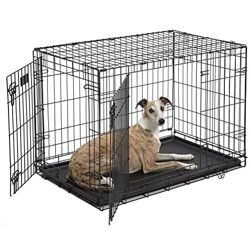 MidWest iCrate - Double Door Folding Metal Crate With Divider - Roller Feet & Leak Proof Tray