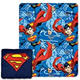 "Warner Brothers DC comics Superman,Metropolis Shield 14"" Square Pillow and Fleece Throw Blanket in Pocket Set, 40"" x 50"""