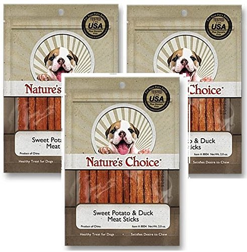 (3 Pack) Nature's Choice Sweet Potato & Duck Soft Chew Meat Sticks contains Glucosamine & Chondroitin for Hip & Joint Health 2oz 1