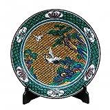Jpanese traditional ceramic Kutani ware. Decorative Plate with a stand. Yoshidaya crane. With wooden box. ktn-K5-1394