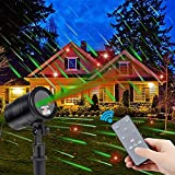 Christmas Laser Lights, Green Dynamic Meteor Shower and Red Star Laser Light Projector with RF Remote Controller Waterproof Outdoor Landscape Projector for Christmas, Party, Patio, Lawn, Yard, Garden