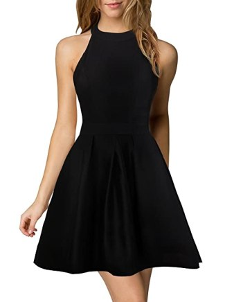 Berydress Women's Halter Neck Backless Black Cocktail Party Dress (US4, 6019_Black)