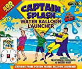 Water Balloon Launcher 400 Yards by Captain Splash, 3 Person Slingshot Cannon Catapult, 150 FREE Water Balloons & Carry Case Included. (Black, Extra Strong Latex Sling) 2019 Edition. Outdoor Games