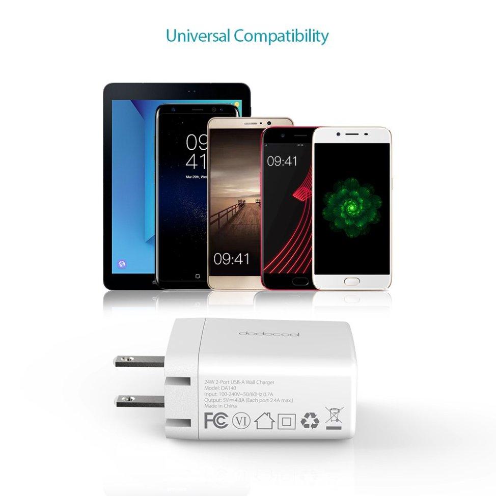 dodocool 2ポートUSB急速充電器 壁式チャージャー 電源アダプタUSB-A  折り畳み式プラグ搭載 Samsung Galaxy S8 / iPhone 7 Plus / OnePlus 5 / Motorola Moto Z / HTC U11 / Google Pixelなどのデバイスをサポート 米国(ホワイト)