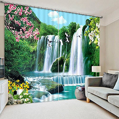 "The Wonderful Waterfall with Flower Print Durable Practical Window Treatment Decorative Polyester Scenery 3D Blackout Curtain,2 Panels (104W84""L)"