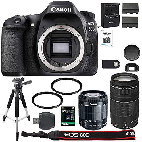 Canon EOS 80D Digital SLR Camera + 18-55mm STM + Canon 75-300mm III Lens + SD Card Reader + 64gb SDXC + Remote + Spare Battery + Accessory Bundle – International Version