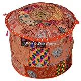 "Stylo Culture Indian Round 18"" Patchwork Embroidered Ottoman Stool Pouf Cover Cotton Orange Floral Ottoman Furniture Living Room Pouffe Cover"