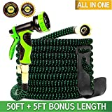 Garden Hose 55 Feet, Expandable, Lightweight, High Density 3750D Outer Fabric, Durable Double Latex Core, Bundle with Spray Nozzle and Accessories (5 Items)