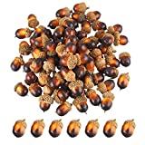 Bememo 100 Pack Artificial Acorns Lifelike Simulation Acorn with Natural Acorn Cap for DIY, Crafting, Wedding, House Decor