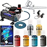 Professional Master Airbrush Cake Decorating Airbrushing System Kit with a 6 Color Chefmaster Food Coloring Set - G22 Gravity Feed Airbrush and Air Compressor - Decorate Cakes, Cupcakes and Cookies