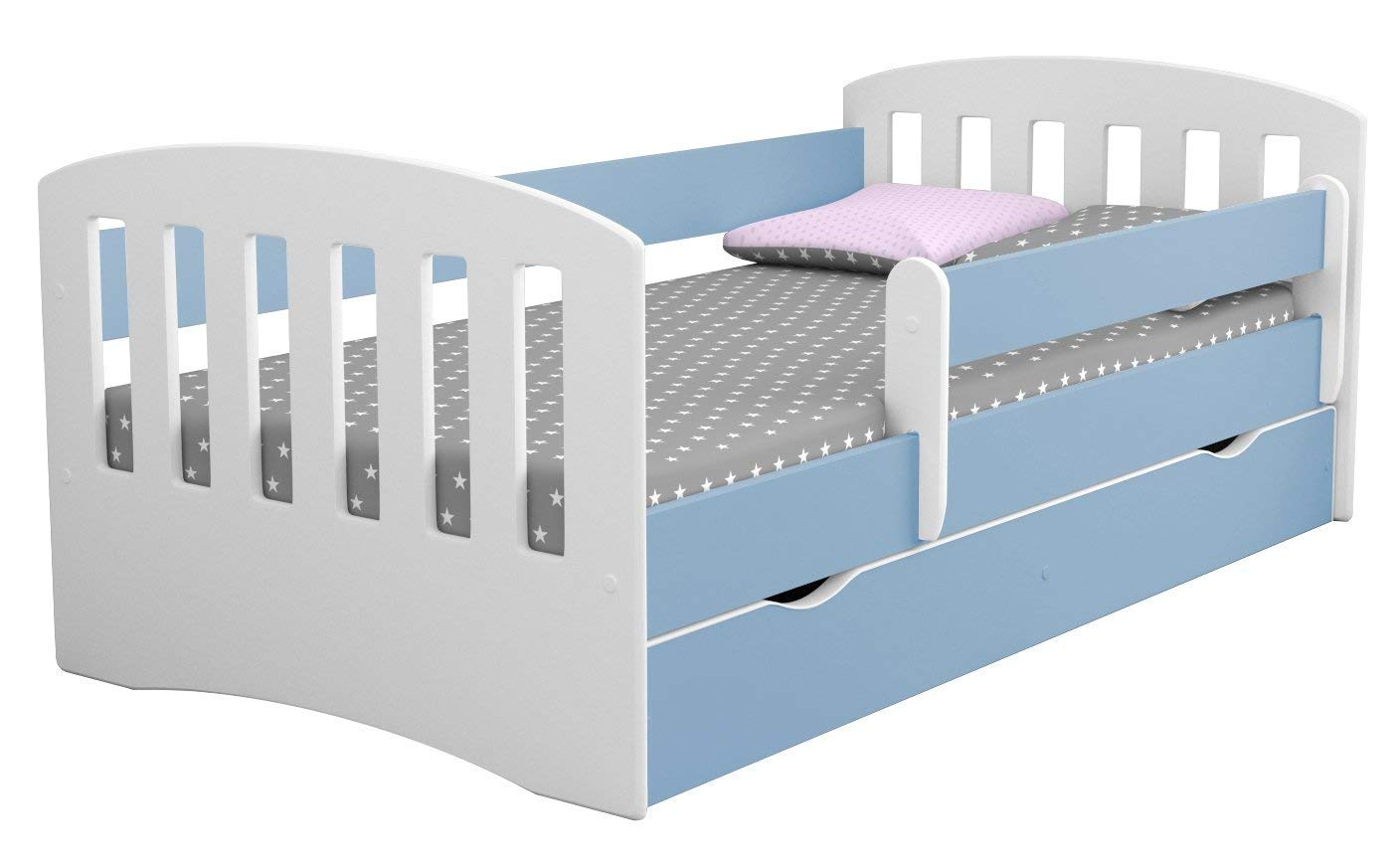 Toddler Beds Baby Products 180x80 Blue Toddler Bed Kids Bed Junior Childrens Single Bed With Mattress And Storage Included Classic