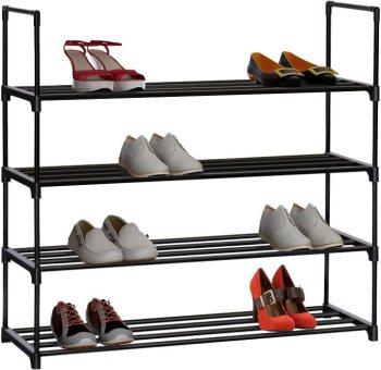 Use  multiple shoe racks for garage shoe organization
