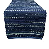 DII Everyday Machine Washable Chindi Rag Table Runner, 14 X 72', Nautical Blue