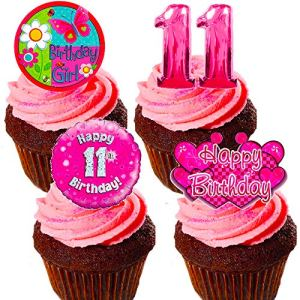 Made4You 11th Birthday Girl – Edible Cake Decorations, Pink- Stand-up Wafer Cupcake Toppers (Pack of 12) 61ykoBE7YdL
