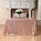 Poise3EHome 90x90 Square Sequin Tablecloth for Party Cake Dessert Table Exhibition Events, Rose Gold