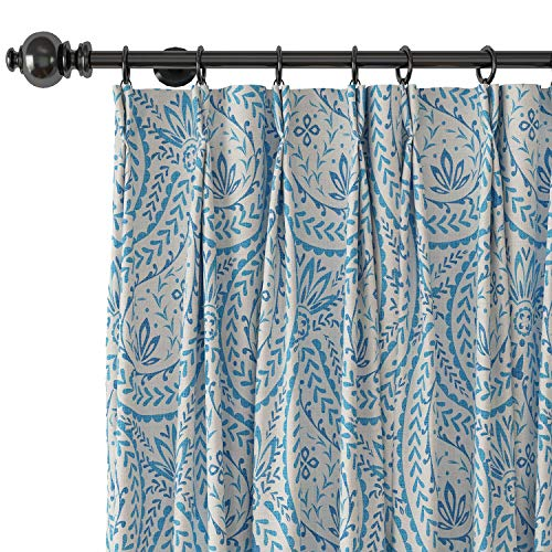 Blue Pleated Paisley Curtains