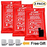 JJ CARE [Pack of 3] Fire Blanket Fire Suppression Blanket Made from Fiberglass Cloth - Suitable for Camping, Grilling, Kitchen Safety, Car and Fireplace Fire Retardant Blanket for Emergency 40'x40'