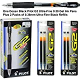 G2 Pens 31277 Black Pilot G2 Ultra-fine 0.38mm Gel Ink Pens, 1 Dozen Plus 2 Packs 0.38mm Ultra Fine Black Gel Ink Refills