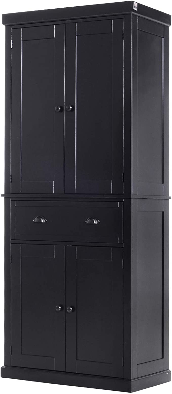 Homcom 72 5 H Traditional Freestanding Kitchen Pantry Cabinet Traditional Spacious Storage Closet With 1 Drawer Kitchen Pantry Cupboard Cabinet Black Amazon Ca Home Kitchen