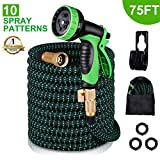 Kurtvana Garden Hose Expandable Water Hose 75 Feet,Extra Strength/No-Kink Lightweight/Durable/Flexible/10 Function Spray Hose Nozzle 3/4 Solid Brass Connectors Garden Hose for Watering/Washing