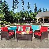 Tangkula 4 PCS Patio Furniture Set, Outdoor Rattan Wicker Sofa Comfortable Cushioned Seat, Garden Lawn...