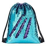 Segorts Sequin Drawstring Backpack Gym Dance Bags Mermaid Magic Reversible Glitter Bag Unicorn Gift for Girls Daughter Boy Flip Sequin School Bag Birthday Gift for Kids Women, One_Size