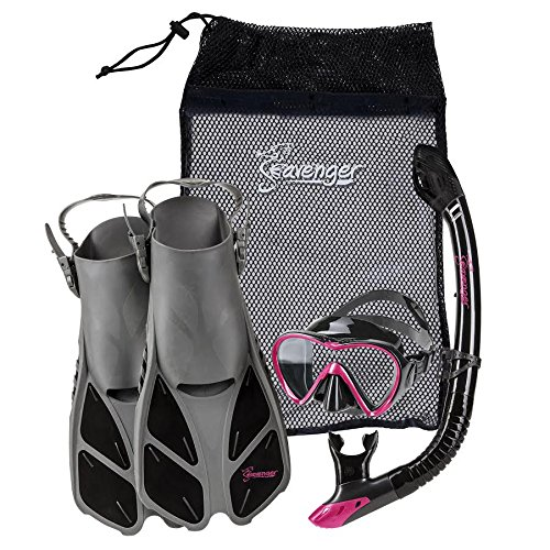 Seavenger Diving Dry Top Snorkel Set with Trek Fin, Single Lens Mask and Gear Bag, S/M - Size 4.5 to 8.5, Gray/Black Silicon/Pink