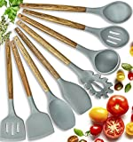 Silicone Cooking Utensils Kitchen Utensil set - 8 Natural Acacia Wooden Silicone Kitchen Utensils Set - Silicone Utensil Set Spatula Set - Silicone Utensils Cooking Utensil Set - Kitchen Tools Gadgets