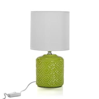 Lampada Da Tavolo Con Base In Ceramica Verde Amazonit