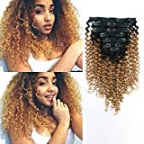 AmazingBeauty 8A 3B 3C Jerry Curly Ombre Clip in Hair Extensions for Black Women Double Weft Real Remy Human Hair, Natural Black Fading into Caramel Blonde, 7 Pieces, 115 Grams, JC TN/27, 18 Inch