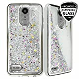 TJS Case for LG Aristo 2/Aristo 2 Plus/Aristo 3/Aristo 3 Plus/Tribute Dynasty/Tribute Empire/Fortune 2/Rebel 3 LTE [Full Coverage Tempered Glass Screen Protector] Glitter Chrome Phone Cover (Silver)