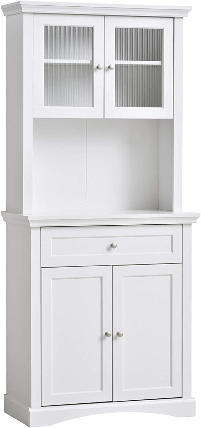 Amazon Com Homcom Traditional Freestanding Kitchen Pantry Cabinet With 4 Doors 3 Level Adjustable Shelves And 1 Drawer White Furniture Decor