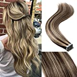 18' 40pcs 100g Remy Tape in Hair Extensions Human Hair 4P27 Balayage Straight Hair Seamless Skin Weft Invisible Double Sided Tape Two Tone Medium Brown Mix Dark Blonde