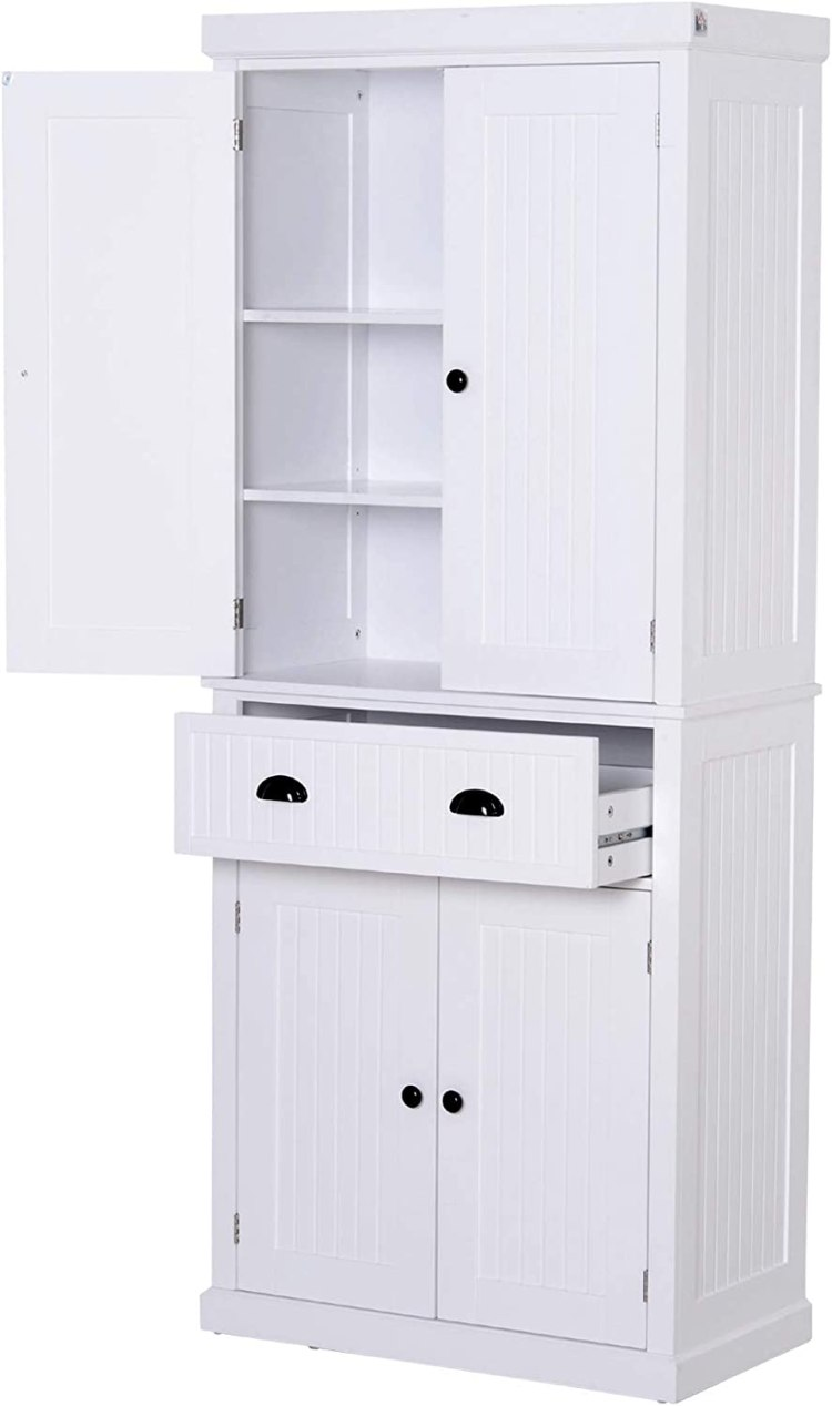 Furniture And Adjustable Shelves Grey Homcom 72 Traditional Colonial Kitchen Pantry Cabinet With 2 Large Storage Areas Drawer Home Kitchen Smkbinaputracihampelas Sch Id